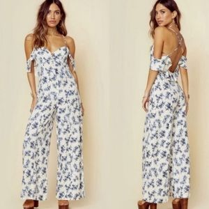 Lost in lunar blue floral modern romance playsuit